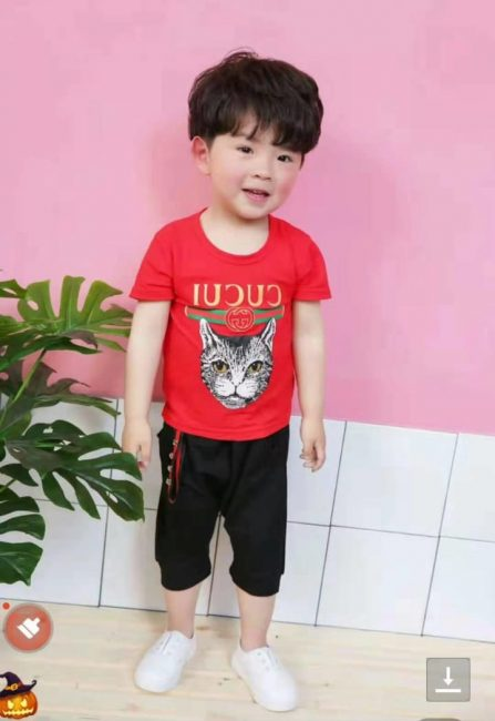 0d56e251257e stylish baby boy red cat shirt with attractive black shorts