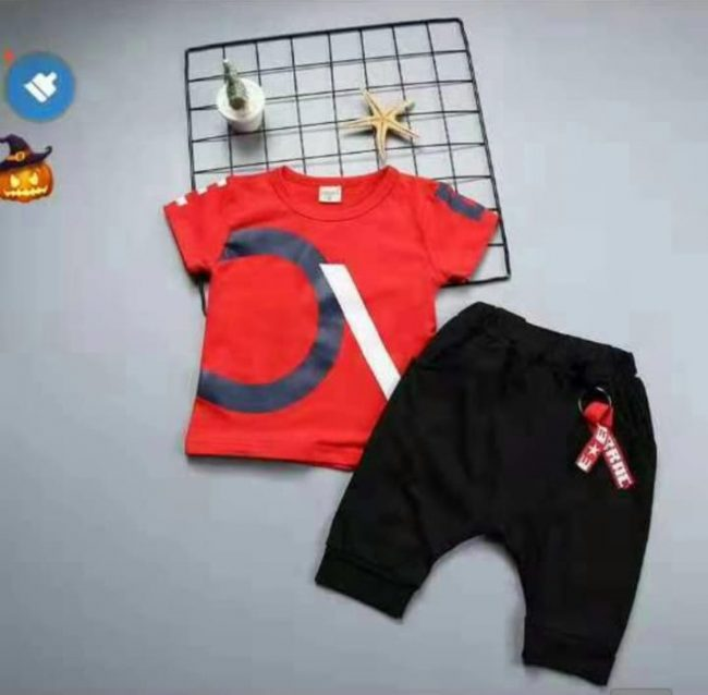 67a7180bc32d stylish baby boy red shirt with black ring style shorts